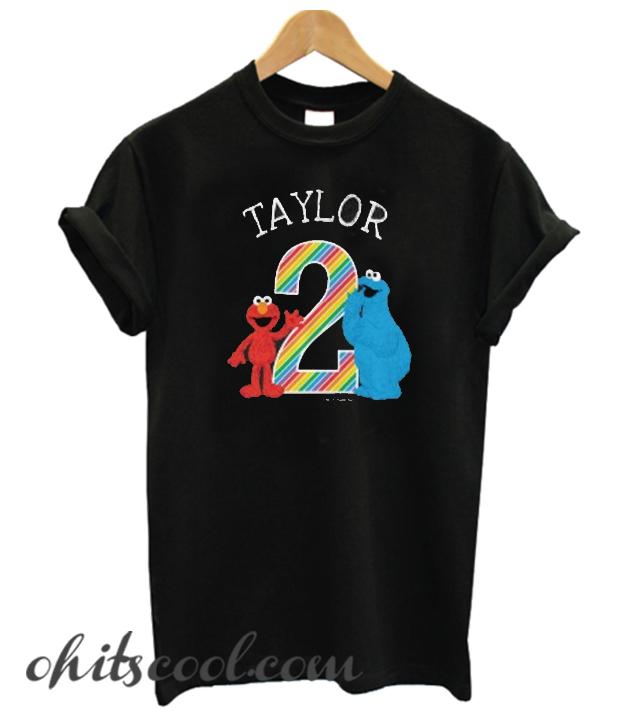 Sesame Street Pals Chalkboard Rainbow 2nd Birthday Toddler Runway Trend T-shirt