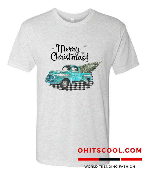 Merry Christmas Turquoise Truck with Christmas Tree Runway Trend T Shirt
