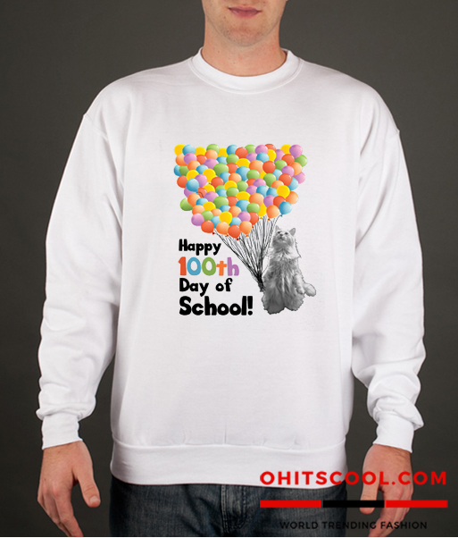 Happy 100th Day of School Cat and Balloons Runway Trend Sweatshirt